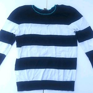 Loft Petite Black and White Striped Sweater